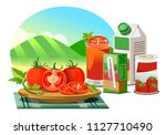 products from the processing of ... | Shutterstock .eps vector #1127710490