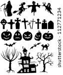 set of halloween silhouette on... | Shutterstock .eps vector #112771234