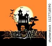 halloween poster with dark... | Shutterstock .eps vector #1127718590
