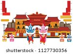 chinese kids is playing lion... | Shutterstock .eps vector #1127730356