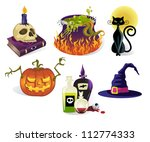 halloween icons   set of six... | Shutterstock .eps vector #112774333