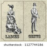 victorian lady and gentleman.... | Shutterstock .eps vector #1127744186