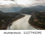 Autumn river landscape top view Mansky loop Krasnoyarsk, Russia.
