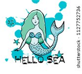 hand drawn mermaid. vector... | Shutterstock .eps vector #1127752736