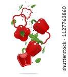 flying fresh red bell peppers... | Shutterstock .eps vector #1127763860