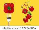 fresh red bell pepper on fork... | Shutterstock .eps vector #1127763866