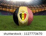 belgium football team ball on... | Shutterstock . vector #1127773670