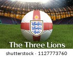 the three lions text on england ...   Shutterstock . vector #1127773760