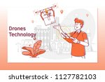 concept of drones technology... | Shutterstock .eps vector #1127782103