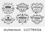 six scalable old school retro... | Shutterstock .eps vector #1127784326
