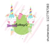 hand drawn summer typography... | Shutterstock .eps vector #1127787383
