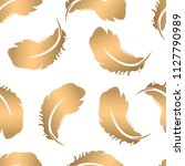 seamless pattern with feathers...   Shutterstock . vector #1127790989
