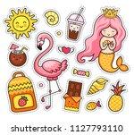summer stickers. little mermaid ... | Shutterstock .eps vector #1127793110