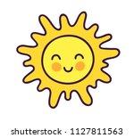 cute happy sun. cool cartoon... | Shutterstock .eps vector #1127811563