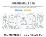 line banner of autonomous car.... | Shutterstock .eps vector #1127812850