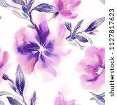 watercolor flowers seamless... | Shutterstock . vector #1127817623