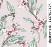 jasmine seamless pattern....   Shutterstock . vector #1127817629