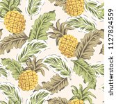 tropical yellow pineapples ... | Shutterstock .eps vector #1127824559