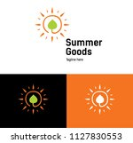 goods logo concept. sun and... | Shutterstock .eps vector #1127830553