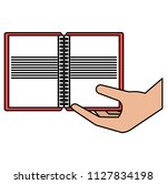 hand with notebook school | Shutterstock .eps vector #1127834198