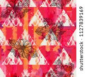 seamless pattern with dahlia.... | Shutterstock .eps vector #1127839169