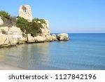 beach in torre dell'orso near... | Shutterstock . vector #1127842196