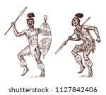 african tribes  aborigines in... | Shutterstock .eps vector #1127842406