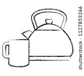 utensil teapot with cup   Shutterstock .eps vector #1127853266