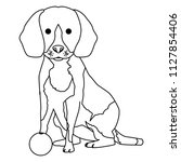 cute dog pet with ball character | Shutterstock .eps vector #1127854406