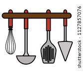 set cutleries hanging icons | Shutterstock .eps vector #1127857076