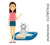 Stock vector young woman with cat in the bed characters 1127857616