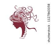 curly hair. modern silhouette... | Shutterstock .eps vector #1127863358