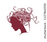 curly hair. silhouette profile... | Shutterstock .eps vector #1127863550