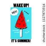 watermelon ice cream in the... | Shutterstock .eps vector #1127873516
