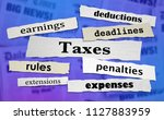 taxes headlines earnings income ... | Shutterstock . vector #1127883959