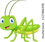 cute grasshopper cartoon... | Shutterstock .eps vector #1127886398