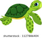 cute sea turtle cartoon... | Shutterstock .eps vector #1127886404
