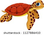 cute sea turtle cartoon... | Shutterstock .eps vector #1127886410