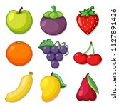 a set of organic fruit... | Shutterstock .eps vector #1127891426