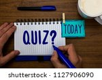 handwriting text quiz question. ... | Shutterstock . vector #1127906090
