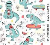 music lover dinosaur seamless... | Shutterstock .eps vector #1127922956