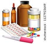 various medicenes and... | Shutterstock .eps vector #1127923649