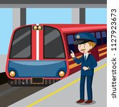 train conductor and train... | Shutterstock .eps vector #1127923673