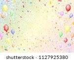 confetti and balloons | Shutterstock .eps vector #1127925380