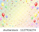 confetti  hearts  and balloons | Shutterstock .eps vector #1127926274