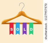 sold clothes hanger sold... | Shutterstock .eps vector #1127957570