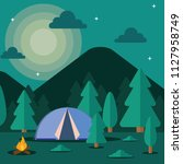 night camp tent with bonfire... | Shutterstock .eps vector #1127958749