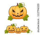 halloween pumpkin  set of jack... | Shutterstock .eps vector #112796320