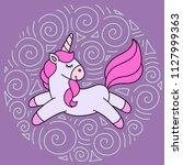 cute cartoon unicorn in vector | Shutterstock .eps vector #1127999363