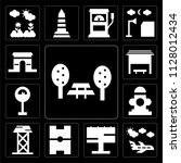 set of 13 simple editable icons ... | Shutterstock .eps vector #1128012434